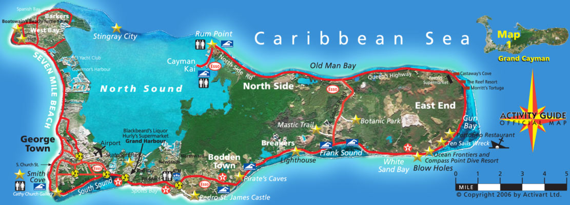 Vibrant image throughout printable map of grand cayman