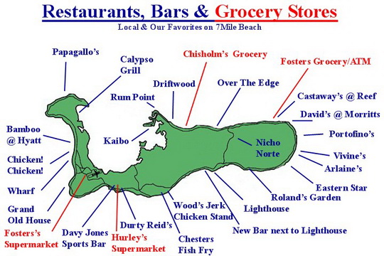 image relating to Printable Map of Grand Cayman referred to as Eating